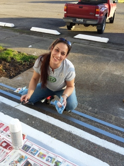 Theresa Brown paints the steps