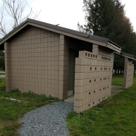 Outdoor restrooms need paint on the interior walls and floors